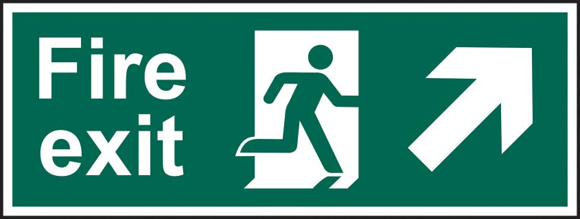 Fire Exit Running Man Diagonal Arrow Up Right Sign