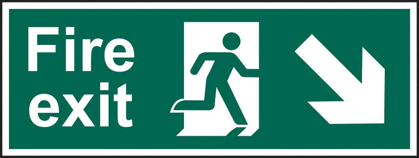 Fire Exit Running Man Diagonal Arrow Down Right Sign