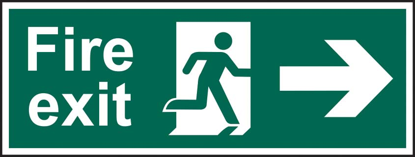 Fire Exit Running Man Arrow Right Sign