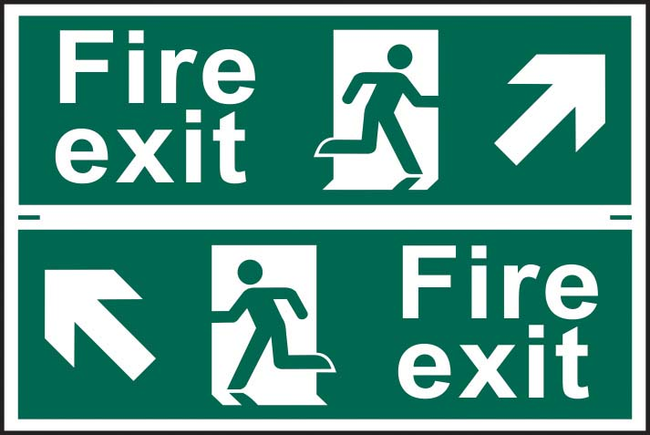 Fire Exit Running Man Diagonal Arrow Up Right / Left Sign