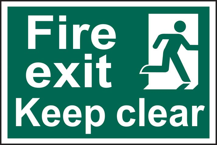 Fire Exit Keep Clear Running Man