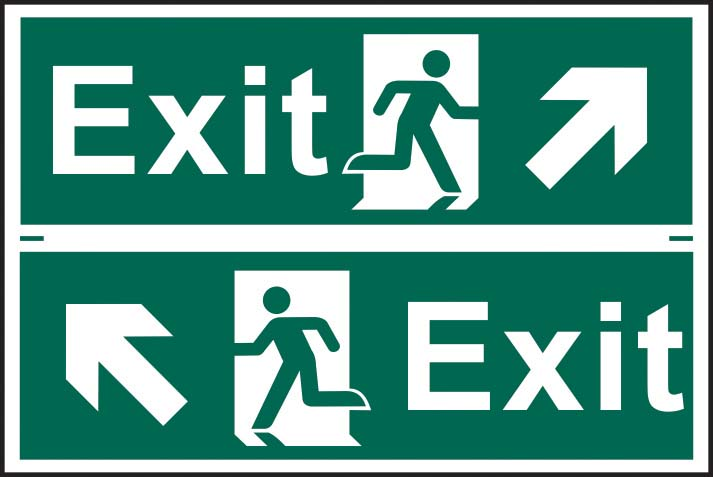 Exit Running Man Diagonal Arrow Up Right / Left Sign