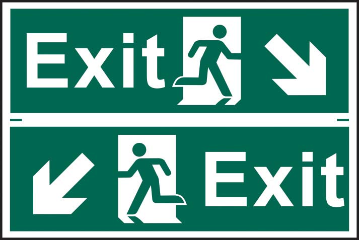 Exit Running Man Diagonal Arrow Down Right / Left Sign