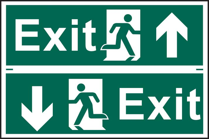 Exit Running Man Arrow Up / Down Sign