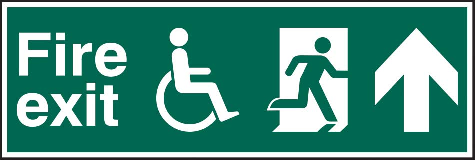 Disabled Fire Exit Running Man Arrow Up