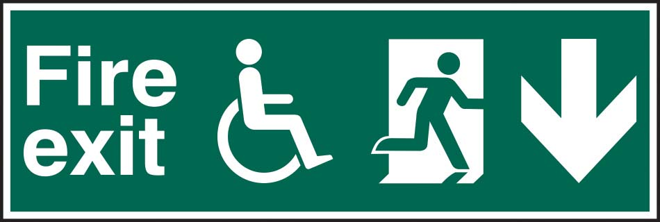Disabled Fire Exit Running Man Arrow Down
