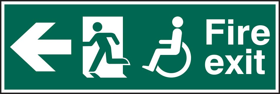 Disabled Fire Exit Running Man Arrow Left